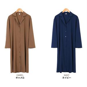 【レディース】開襟シャツワンピース 全2色