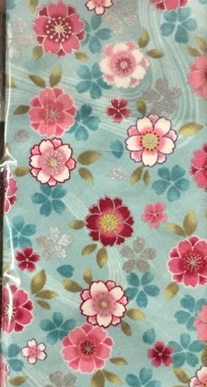 極道柄 水色地に八重桜