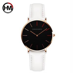 女性の時計クリエイティブトップブランド日本クォーツムーブメント時計ファッションシンプルな因果レザーストラップ女性の防水腕時計1230-HR36-FB