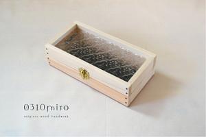 0310≪木製マスクケース≫国産ひのきとレトロガラスのコレクションケース(花柄フローラガラス)ナチュラル