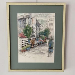 野村節子「街角のカフェ」水彩
