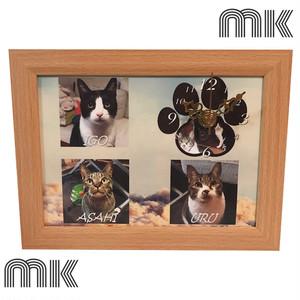 【受注制作】2L/3カット/オーダーメイド/フォト時計/フォトフレーム/ギフト/お祝い/記念日/誕生日/ウェディング/写真で作る/ペットで作る/プレゼント/贈り物/愛犬/愛猫/肉球時計/メモリアル