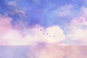 ピンク色の雲と湖の、画像データ