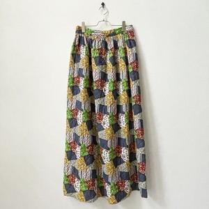 70年代 USA製 パッチワーク風 キルティングスカート アメリカ古着 日本L