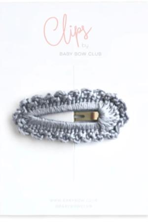 BABY BOW CLUB Crochet Clip // Powder Blue