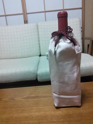 ワイン染めシルク生地 ワインボトル巾着
