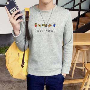 【トップス】韓国系ファッションラウンドネックプリント学園風スリムメンズカジュアル長袖シャツ24659970