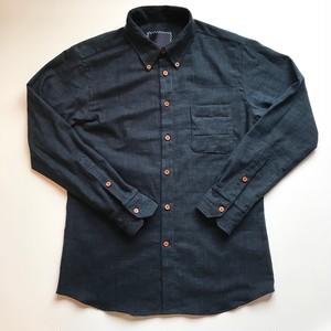 "HAKOU""波光"" スラブコットン パッチワーク ウッドボタン B/D シャツ Bushu Aizome Patchworks Shirts w/wood buttom"