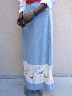 Long skirt with a flower patch/花ワッペン ロングスカート