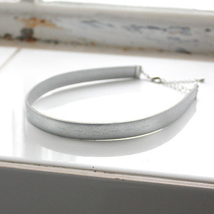 FAKE LEATHER CHOKER [ SILVER ]