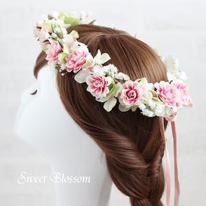 【アーティフィシャルフラワー】ミニバラいっぱいの花冠 * ウエディングの髪飾り