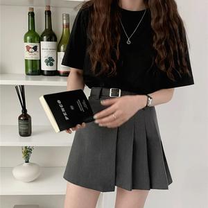 Belt Pleated A-line skirt(gray)