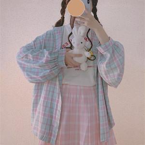 【トップス】日系少女insレトロルーズチェック柄シャツ