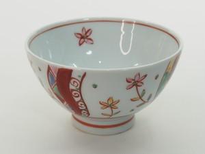 赤絵草花紋深型飯碗
