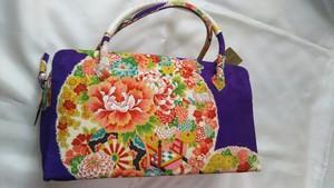 和装バッグ  優美な紫の花柄