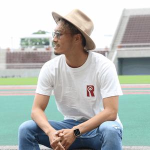 Rロゴ ・Tシャツ(バニラホワイト×ベンガラ)