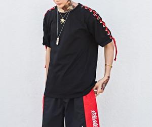 [売れ筋]ショルダーロング紐デザインTシャツ 2カラー