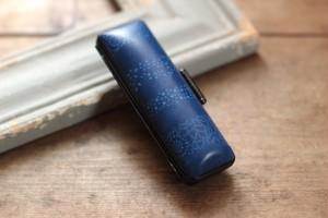 藍染革【江戸小紋・変り縞】 18mm径印鑑ケース