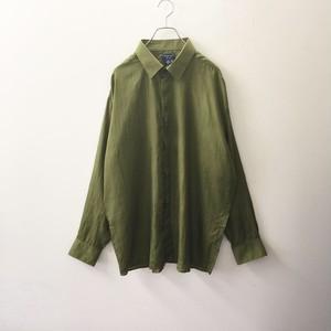 シルクシャツ グリーン size XL メンズ 古着