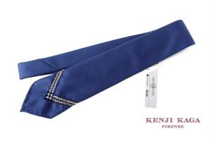 ケンジカガ|kenji kaga|ハンドエンブロイダリーウールネクタイ|ブルー