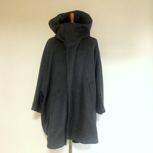 Melton Wool Hooded Poncho Gray
