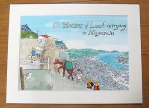 マット台紙入り対州馬と長崎の街