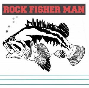 ロックフィッシュ 釣りステッカー「ロックフィッシャーマン」白
