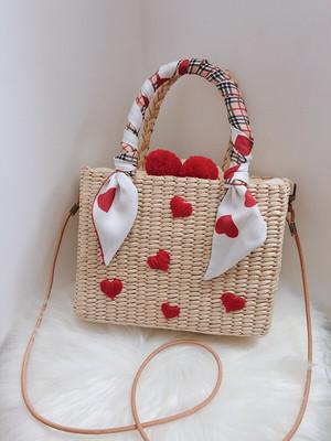 【再入荷】スカーフ付きハート刺繍かごバッグ