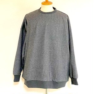 Herringbone JQ Loose Crewneck Cut & Sewn Black