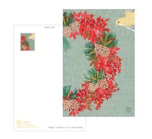 コラージュポストカード 秋冬の花5種