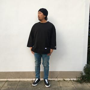 JEMORGAN 8部袖スウェット BLACK