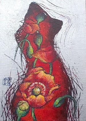 和田淑子作「タトゥー」F4 アクリル彩色キャンバス画 額付/Art Selection【1点もの】【送料無料】