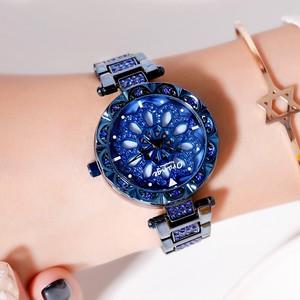 オレンジブランド1セットトップラグジュアリージャパンMIYOTA360°回転花びら女性用時計レディースギフトステンレススチール防水時計601-BLUE FLOWER