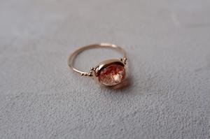 K10YG Lepidocrocite in quartz ring【レピドクロサイトインクォーツ】