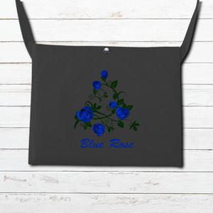 #002-012 サコッシュ おすすめ レディース 人気 おしゃれ 可愛い 花柄 タイトル:ブルーローズ ~カラー ブラック~ 作:んご