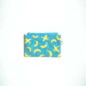 Ashi|亜紙 Flat Pouch S*Banana Blue 紙ポーチ フルーツ柄 バナナ ハンドメイド