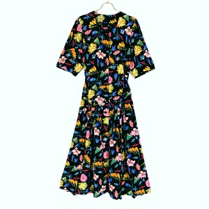 ◼︎80s vintage water colors floral print rayon dress from Germany◼︎