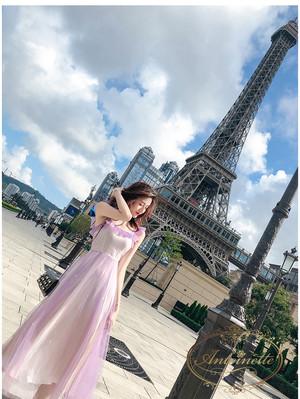 レディース フリル袖 かわいい パステルカラー ノースリーブ パープル メルヘン グラデーション ワンピース ゆめかわいい 韓国 オルチャンファッション ANLO431