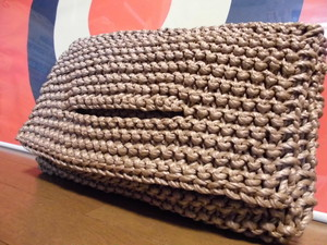 "for darling""beige"" knitted rope clutch bag"
