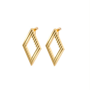 Wave Pattern Aluminium Clip-on Earrings - Rhombus