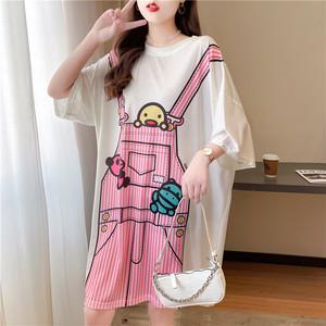 配色ゆったりロング丈涼しい感じ半袖Tシャツ<ins-1569>