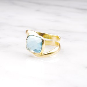 SINGLE STONE WAVE RING GOLD 006