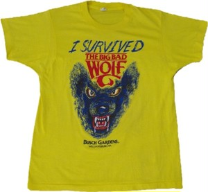 80's SCREEN STARS I SURVIVED THE BIG BAD WOLF Print T-Shirts(黄)