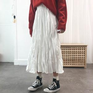 【ボトムス】清新若見えロマンチックギャザー飾りAラインロングスカート