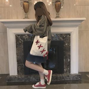 06TA117 編み上げリボン付き キャンバストートバッグ 3色 通学バッグ レトロ ガーリー 2019春夏 韓国ファッション オルチャン トレンド プチプラ かわいい おしゃれ
