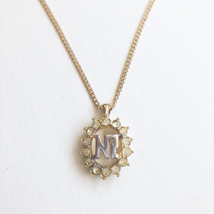 """NINA RICCI"" gold & rhinestone necklace[n-282]ヴィンテージネックレス"