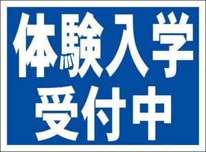 シンプル看板「体験入学受付中(紺)」屋外可・送料無料