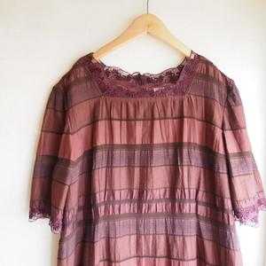 chocolate brown × lace long one-piece