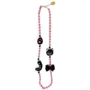 NEK1821/刺繍ネックレス 黒猫と黒リボン