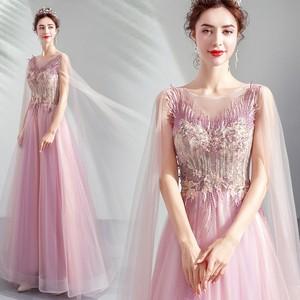 8006カラードレス ロングドレス 結婚式二次会 発表会 披露宴 演奏会 大きいサイズ  小さいサイズ ピンク